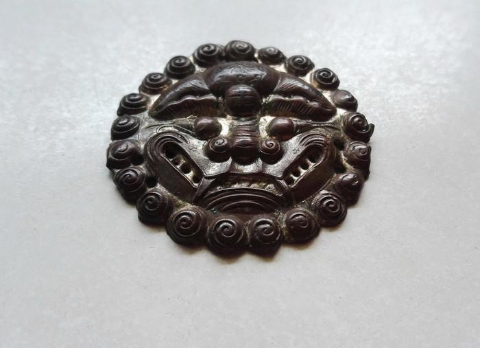 清代铜鎏银吞口