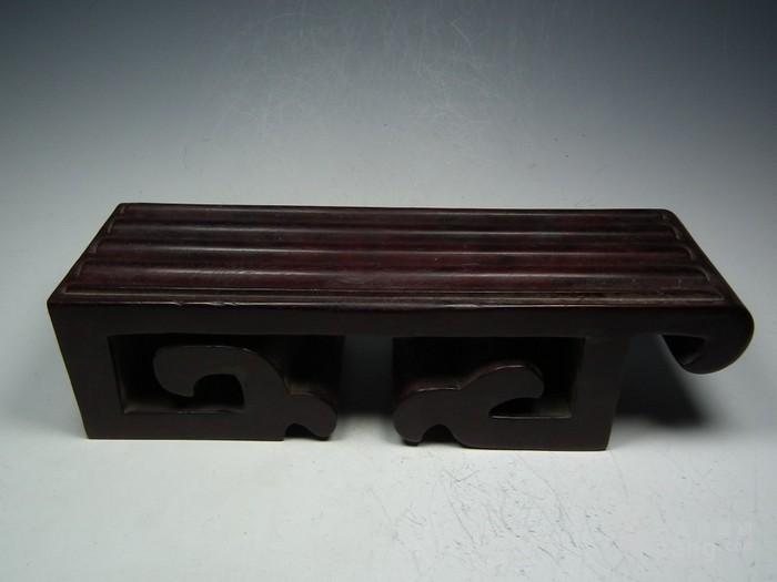 老酸枝红木镂空云纹文房小桌案图1