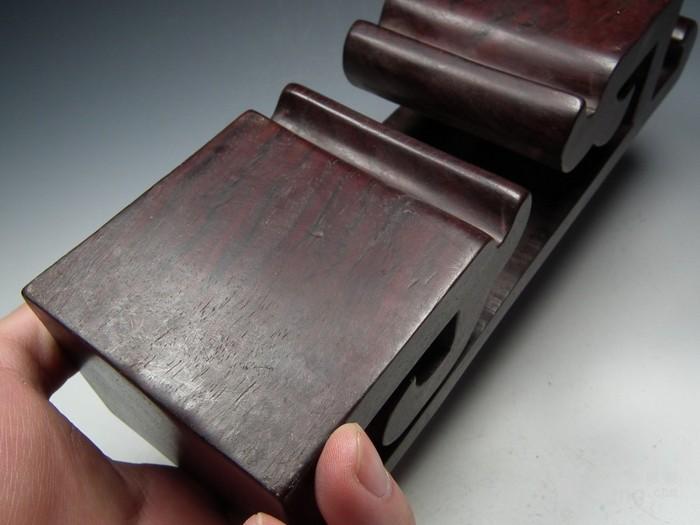 老酸枝红木镂空云纹文房小桌案图6