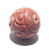 清 保山南红 柿子红 回纹珠 花纹漂亮 包浆老厚