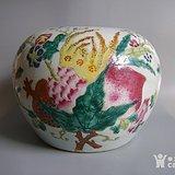 清代全品粉彩刘森盛造 三多 西瓜罐