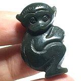 清代 和田青碧 灵猴 挂件 手工雕刻 十分形象