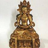 收来的老铜鎏金观音佛像