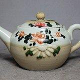 清代粉彩珍珠釉花卉绘画执壶