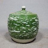 民国绿釉堆白盖罐
