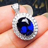 完美无瑕皇家蓝!2.3克拉美国进口人造蓝宝石豪镶满钻纯银吊坠