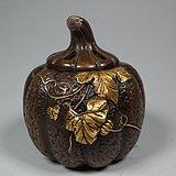 清代老黄铜南瓜型小香炉