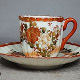 明治时期矾红加彩花卉绘画瓜棱杯碟一套
