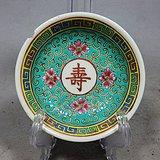 民国绿地粉彩寿字绘画盘