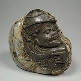 几十年的灰色老坑寿山芙蓉石圆雕人物印章坯