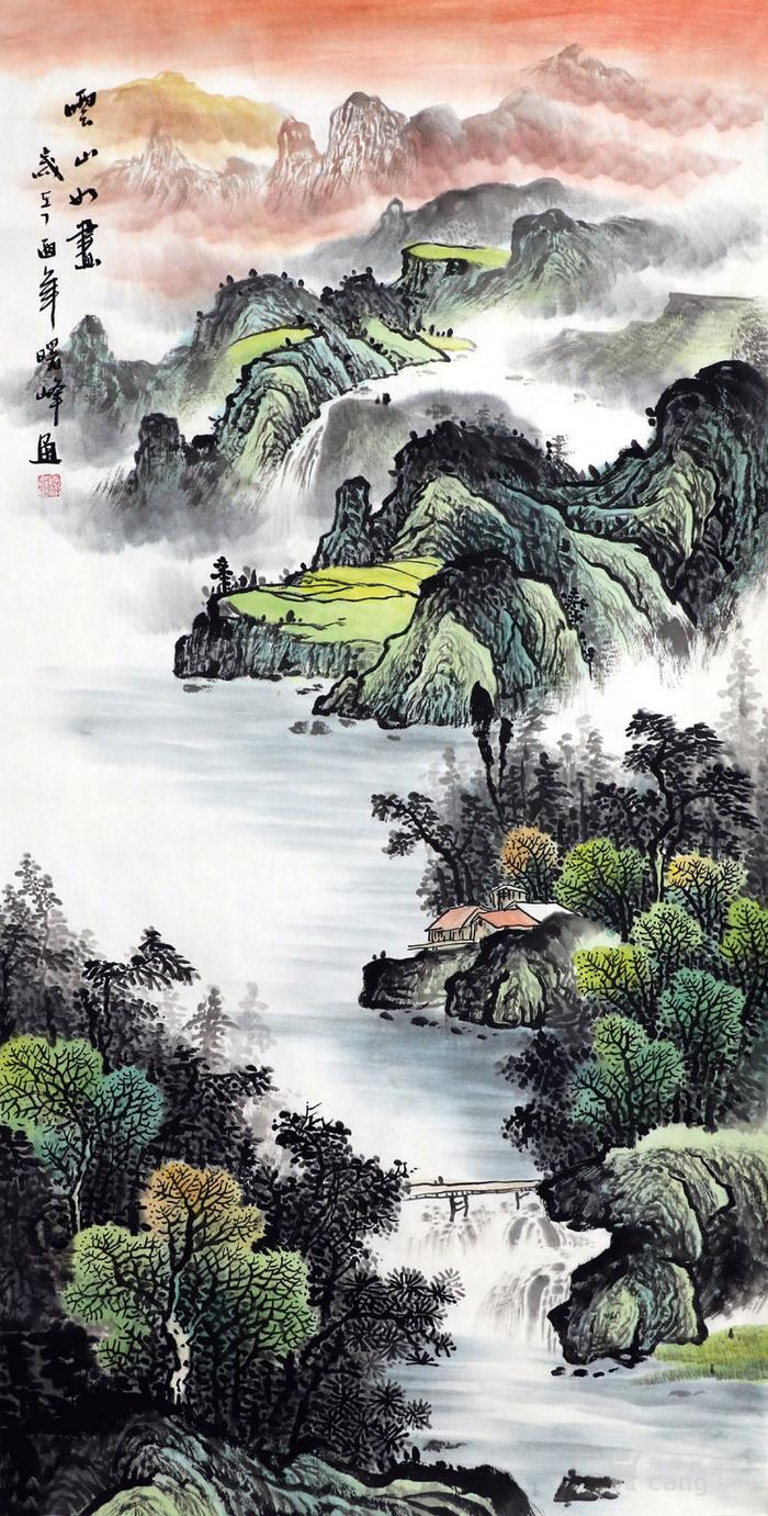 李曙峰纯手绘国画山水字画收藏客厅四尺竖幅山水画