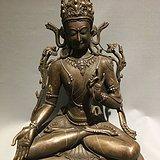 古玩古董传世错银丝西藏铜观音
