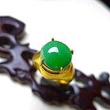 翡翠A货老坑水润满绿托铜戒指