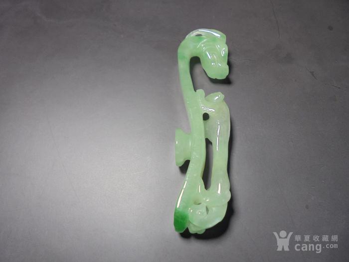 八十年代,天然翡翠冰种飘阳绿苍龙教子玉带钩