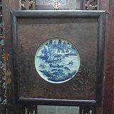 清代青花山水瓷板挂屏
