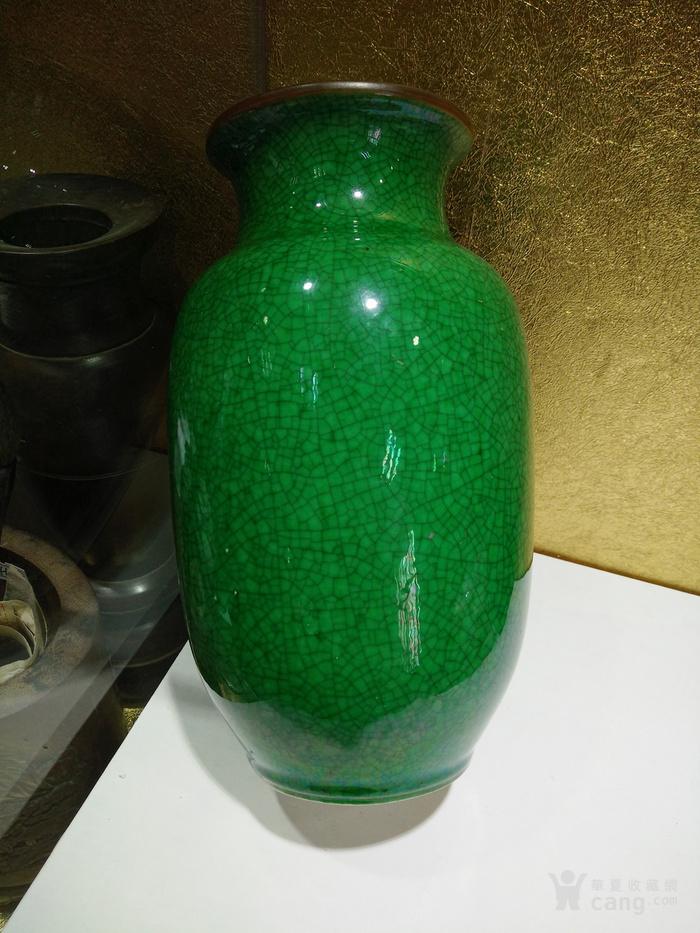 清代中期 豇豆绿釉小开片灯笼瓶 酱口陈设花瓶