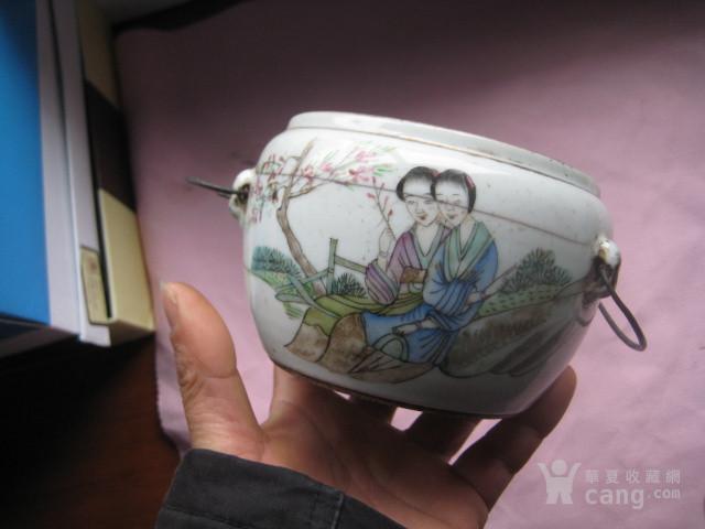 古代有款名家的浅隆彩铜雀春深锁二乔罐