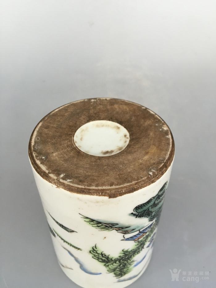 民国粉彩山水笔筒