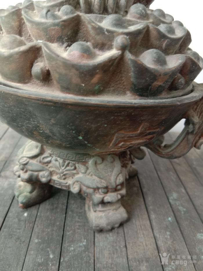 老白铜鎏银 金蟾聚宝 香薰炉
