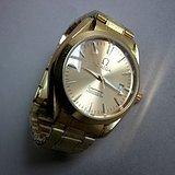 名表欧米茄全自动金色男士手表
