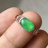 天然缅甸翡翠冰晴绿蛋面925银镀金镶嵌精美戒指一枚