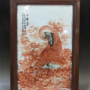 矾红罗汉瓷板画