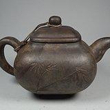 深色泥紫砂竹叶竹节茶缘四足大茶壶