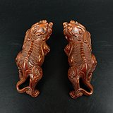 旧藏小叶黄杨木雕貔貅摆件