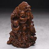 旧藏小叶黄杨木雕和合二仙人物珊子摆件