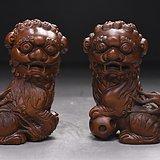 旧藏小叶黄杨木雕双狮摆件