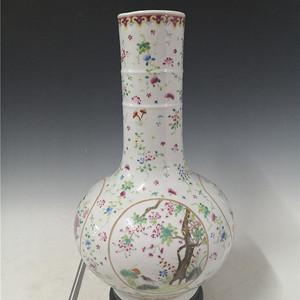 粉彩花鸟竹节天球瓶