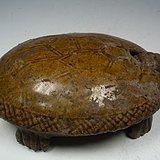 唐宋吉州窑黄釉龟背带盖大瓷砚台