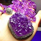 乌拉圭紫晶原矿晶簇大吊坠毛衣链!纯天然紫水晶原石高档挂件项链