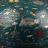 元绿釉五彩描银莲池鸳鸯纹葫芦瓶 古玩古董古瓷器老货收藏