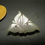 清代老坑A货冰种淡色翡翠单面工双孔三角花卉老花片
