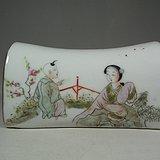 老粉彩人物孩童瓷枕