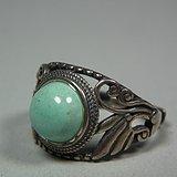 几十年的工艺品公司出品银镶嵌绿松石戒指一枚