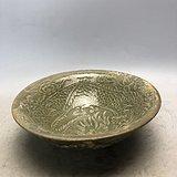 绿釉盘龙镂空瓷碗A2259