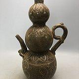 黄釉花卉葫芦瓷壶A0557