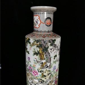 粉彩花鹤纹棒槌瓶