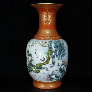 清雍正矾红描金粉彩松鹤纹瓶 32  215 17