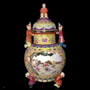 清代雍正本金珐琅彩开光婴戏图纹罐56.5 28cm