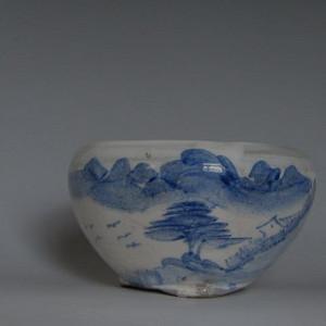 全品民国潮州窑青花 山水 洗式香炉 2