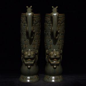 瓷器 陶瓷 龙泉窑兽把杯