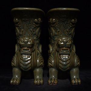 瓷器 龙泉窑雕刻龙纹兽爵杯