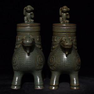 瓷器 龙泉窑兽头尊