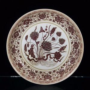 瓷器 釉里红一束莲大盘