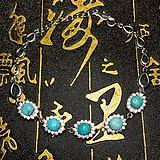 湖北原矿高瓷天然绿松石925纯银镀18K白金豪镶满钻手链