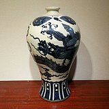 瓷器 老青花龙纹瓶