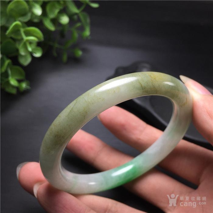 玉泉文玩b429创汇期糯冰种飘阳绿翡翠细管圆条手镯